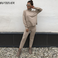 Casual Sweater Pants Knitted 2 Pieces Set Turtleneck Pullovers & Elastic Waist Pants Women Sweater Sets 2019 Autumn Knitted Set