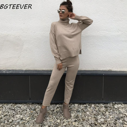 Casual Sweater Pants Knitted 2 piezas Set Pullovers de cuello alto y pantalones elásticos de cintura mujeres Sweater Sets 2019 otoño Knitted Set