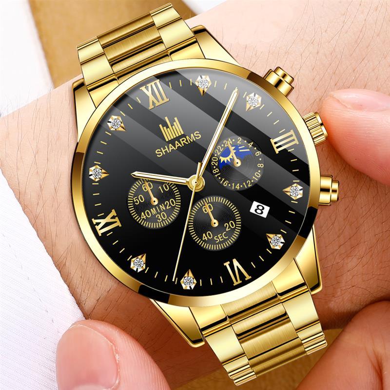 SHAARMS Men Fashion Watch Stainless Steel Gold Analog Quartz Wristwatch Male Man Luxury Business Watches Relogio Masculino
