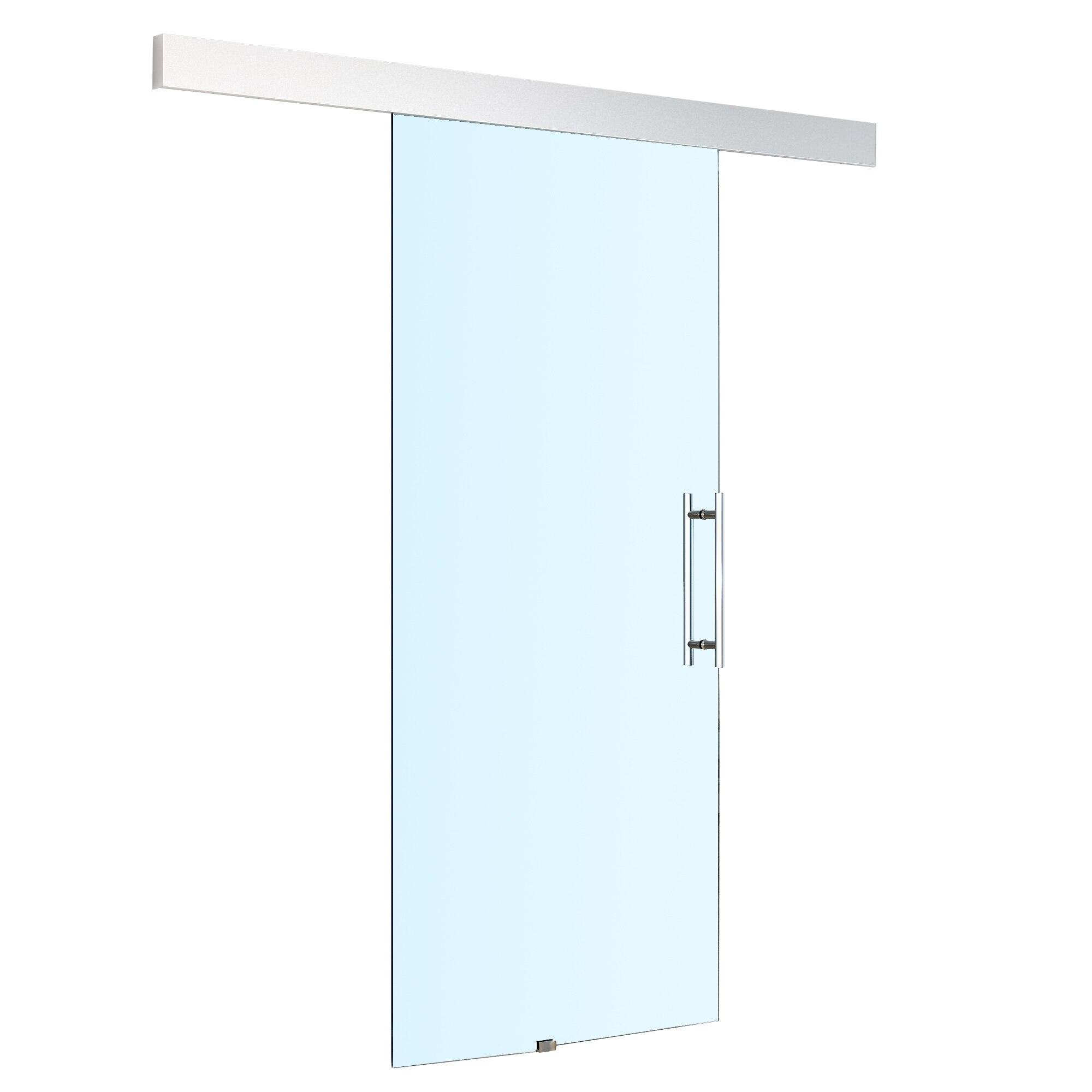 HOMCOM Transparent Glass Sliding Door Track Silent Handle Interior 200 × 213cm