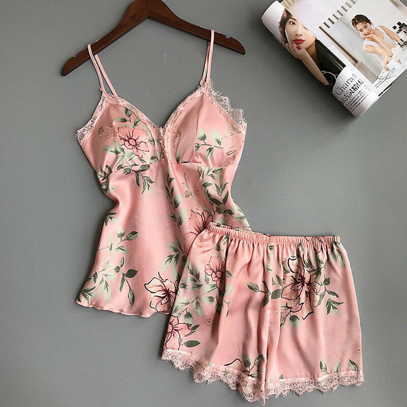 Hirigin Women Pajamas Sets Sexy Satin Lace V-Neck Sleeveless Top And Shorts Summer Floral Nightgown Lady Sleepwear Outfits