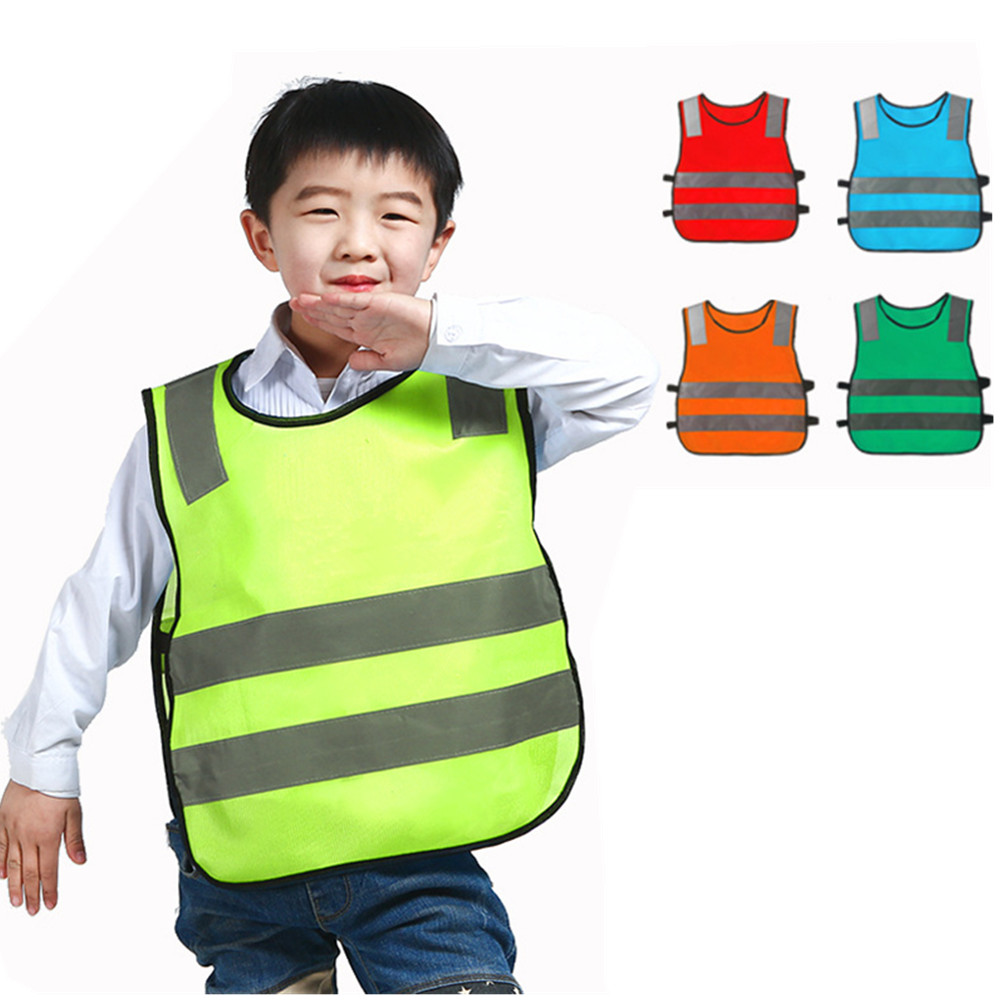 Reflective Safety Vest Kids Fluorescent Clothing High Visibility Safety Clothes For Cycling Outdoor Traffic Protective Suit