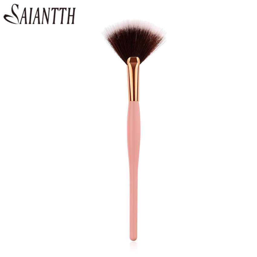 SAIANTTH Single makeup brushes Beauty tools Big Fan shaped brush Small fan pincel maquiagem pregnant belly wooden pink handle
