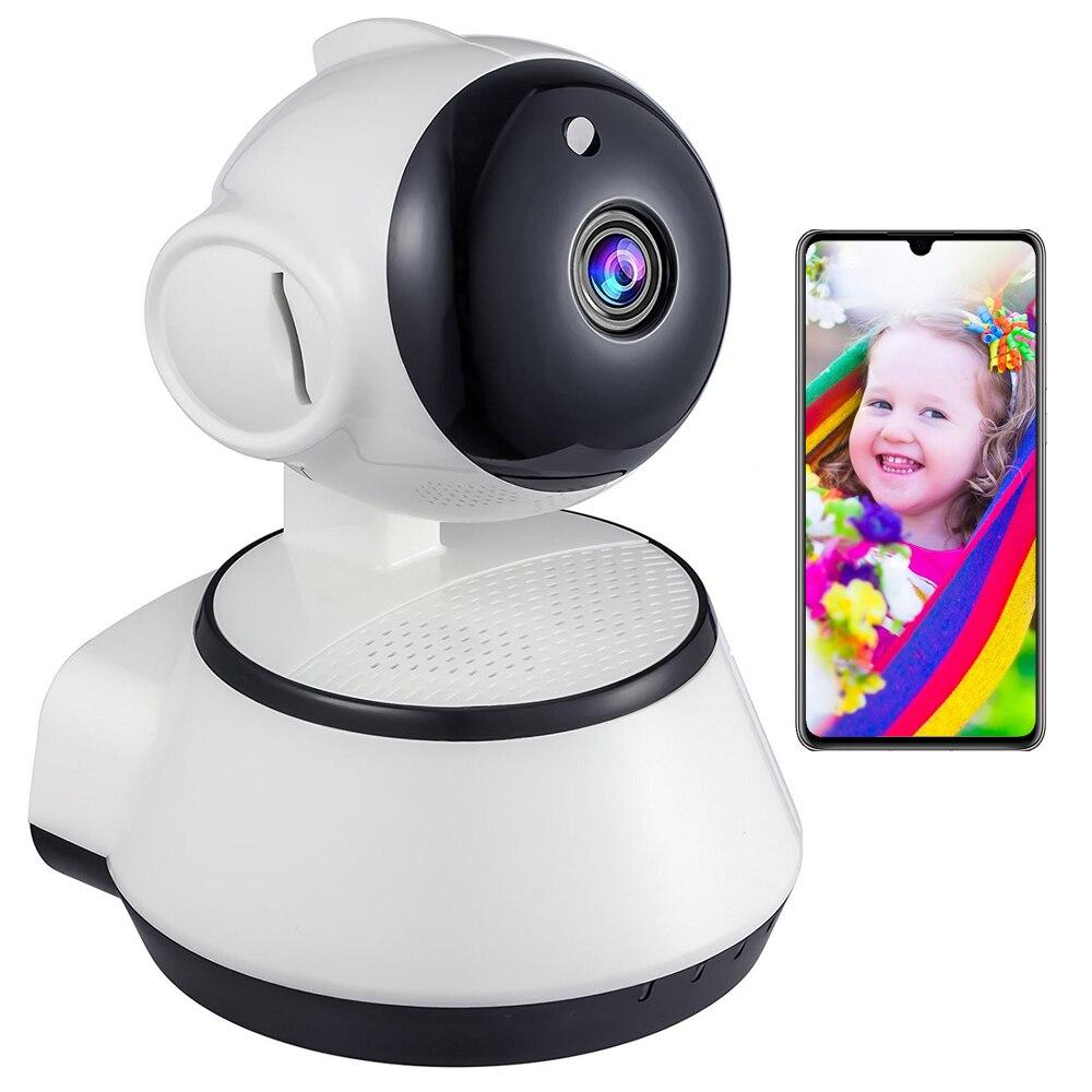 Hemsäkerhet 720P HD Mini P2P IP-kamera 1MP Trådlös Wifi Pan / Tilt Tvåvägs Audio Videokamera Onvif Night Vision CCTV System