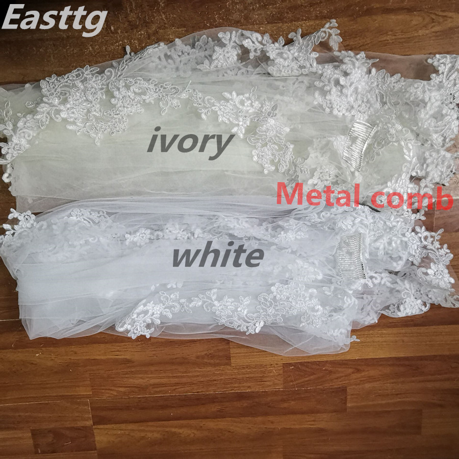 White Ivory In Stock Short One Layer Fingertip length Rhinestone appliqued wedding veil bridal veils with Comb