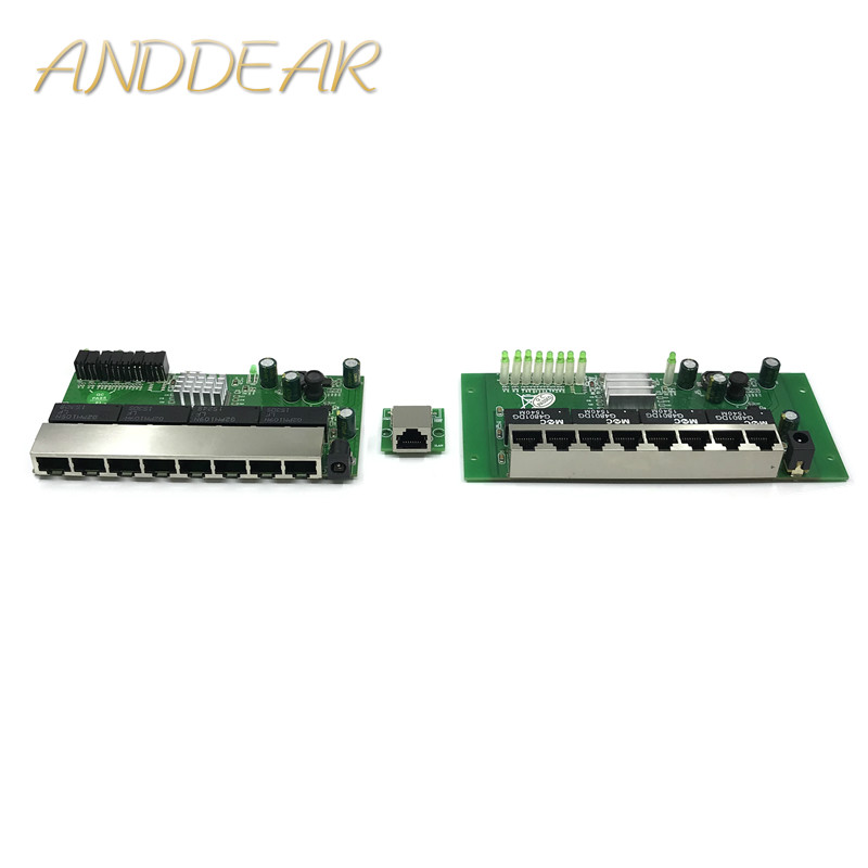 8-port Gigabit switch module is widely used in <font><b>LED</b></font> line 8 port 10/100/1000 m contact port mini switch module PCBA Motherboard image