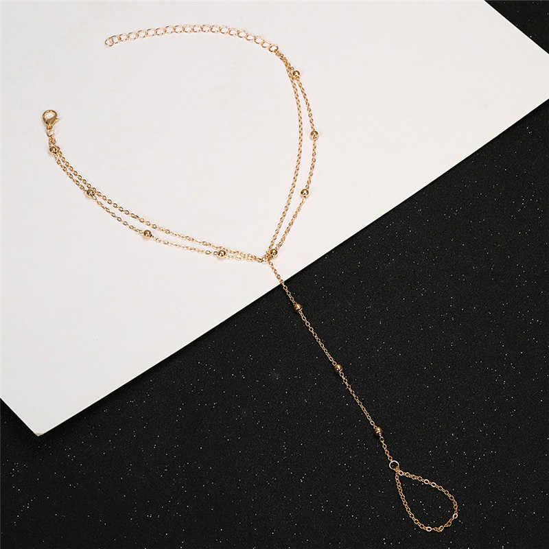 מינימליסטי יחף סנדל Anklets נשים בוהמי חוף כסף זהב צבע חרוז רב שרשרת קרסול צמיד תכשיטים