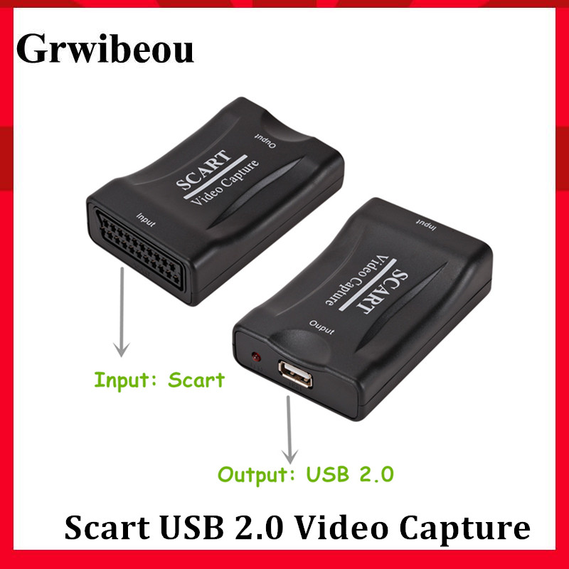 Grwibeou Video Capture Card USB 2.0 Scart Video Grabber Record Box for PS4 Game DVD Camcorder Camera Recording Live Streaming 1
