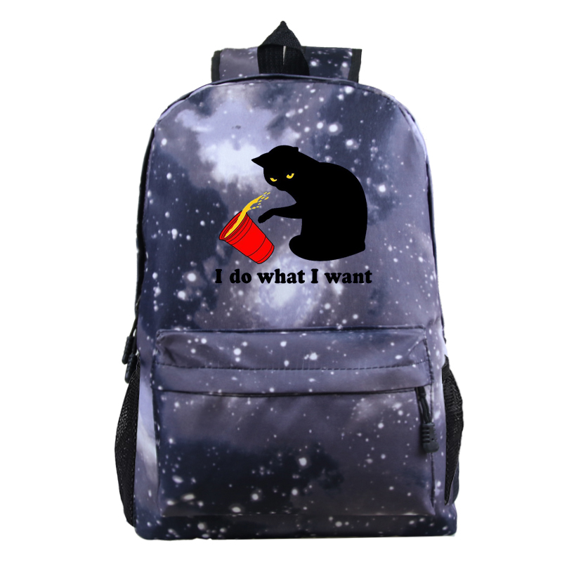 New I Do What I Want Printed Kids Backpacks School Bag Cat Printed Bookbag Laptop Boys Girls Schoolbag Travel Teens Bagpack Bags image