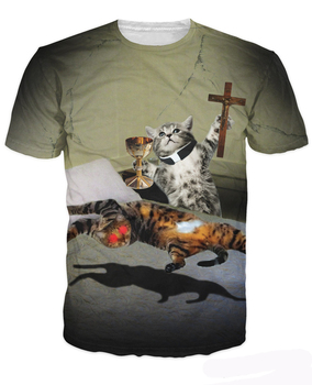 Pussessed T-Shirt Power Of Cats Compel Kitties Exorcism Fun 3d Print T Shirt Summer Style Tees Women/Men Crewneck Tops image