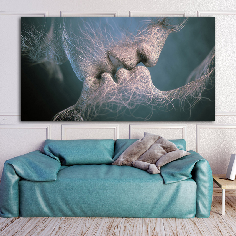 Blue Modern Abstract Love Kiss Canvas Painting Poster and Prints Pictures For Living Room Bedroom Wall Art Home Decorations(China)