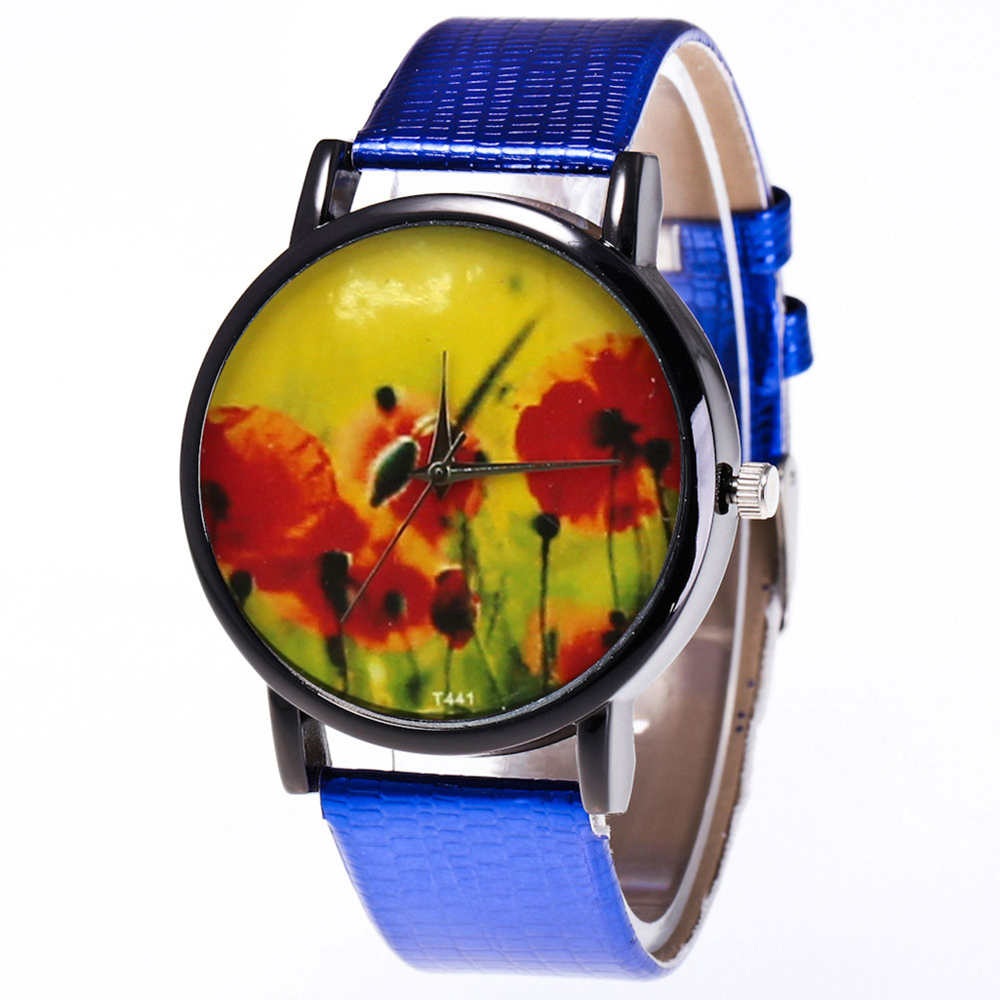 Alloy Frame Watches Printed Watches Quartz Watch Smooth Leather Strap Fashion Watches For Women Men Teens Couple LXH