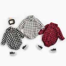 New Autumn Baby Boy Clothes Cute Plaid Pattern Fashion Classic Long-sleeved  0-3T Lapel Newborn