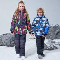 2020 Children Ski Set Girl Snowboard Jacket Boy Kids Ski Suit Waterproof Overalls Windproof Warm Thick Winter Clothing Hooded