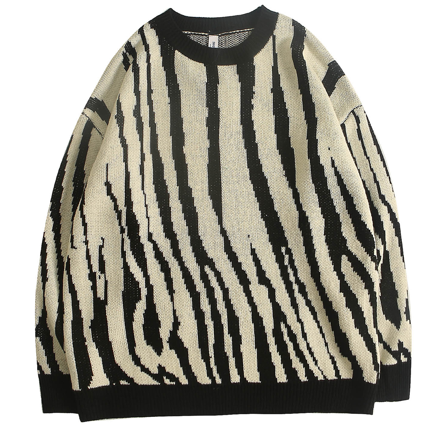 Men's Jumpers Fine Knitted Sweater Pullover Zebra Combination Crewneck Tops Retro For Young Boys Casual Outdoor Autumn Winter