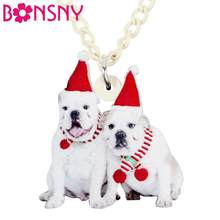 Bonsny Acrylic Christmas Anime Double Bull Pug Dog Necklace Pendent Choker Sweet Pets Jewelry Lady Girl Teen Decoration New Gift(China)