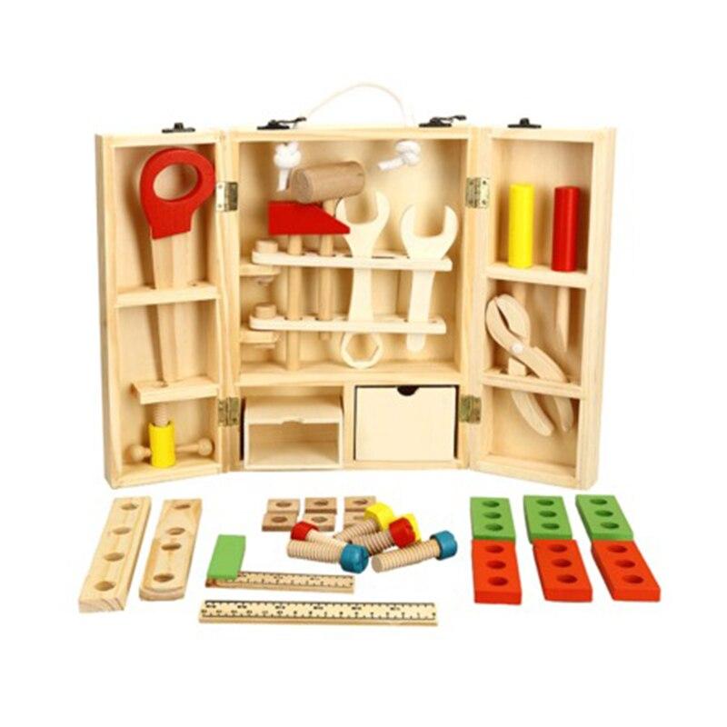 Bricolage en bois portable multi-fonction simulation boîte à outils ensemble combinaison enfants puzzle jouer maison démontage ensemble de jouets