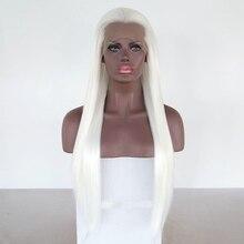 JOY & SCHÖNHEIT Weiß Synthetische Spitze Front Perücken Frauen Cosplay Perücke Hohe Temperatur Faser Frontal Haar Lange Gerade Perücken