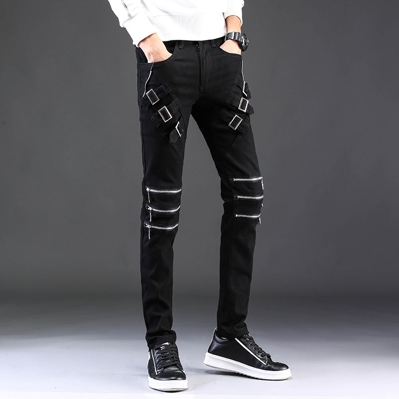 Idopy Men Hip Hop Jeans Multi Zippers Punk Gothic Party Stage Slim Fit Night Club Pants Trousers For Man