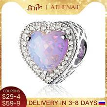 ATHENAIE abalorios de corazones radiantes para mujer, de Plata de Ley 925, pavé de cristal opalescente rosa y CZ transparente, pulseras de Navidad