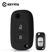 KEYYOU 2 düğme silikon araba anahtarı Renault kılıfı Clio Megane Kangoo Modu Mercedes LADA Vesta için Granta XRay Fob kapak