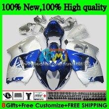 GSXR-1300 для SUZUKI Hayabusa GSXR1300 96 02 03 04 05 06 07 49BS. 92 GSXR 1300 синего и серебряного цвета 2002 2003 2004 2005 2006 2007 обтекатель