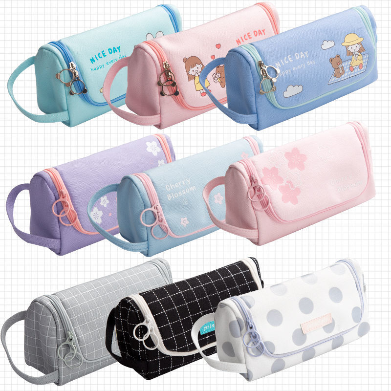 Creative  Canvas Large Capacity And Multiple Colour  Pencil Case 6