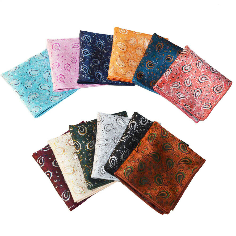12 PCS Men Paisley Printed Handkerchief Hanky Business Wedding Pocket Square BWTYX0335A