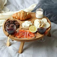Outdoor Wine Picnic Tablefoldable Portable Small Beach Table Portable Solid Wood Wooden Picnic Wine Table Retractable Legs