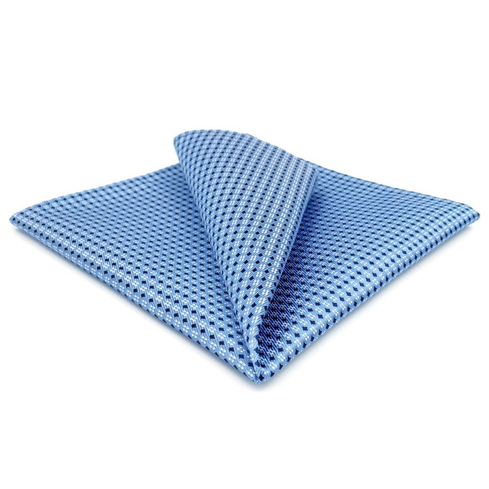 BH6 Azure Blue Mens Pocket Square Dots Classic Handkerchief Silk Business For Suit