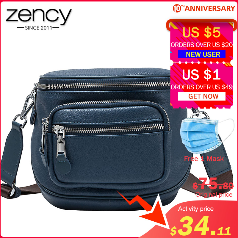 Zency 100% Genuine Leather Daily Casual Women Crossbody Bag More Pockets High Quality Lady Shoulder Bags Black Tote Handbag