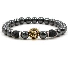 Charm Bracelets For Men Women Trendy Jewelry Non Magnetic Environmentally Friendly Black Stone Lion Head Healing Beads Bracelet