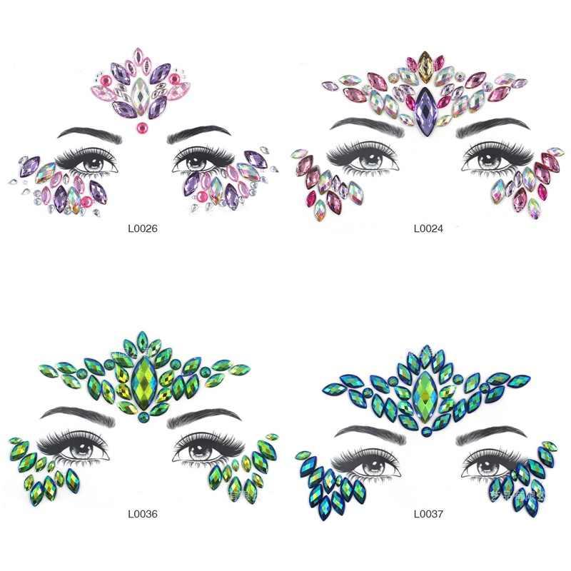 Mata Glitter Tato Sementara Stiker Tubuh Wajah Perhiasan Permata Musik Festival Pesta Makeup Tato Wajah Kristal Stiker untuk Wanita