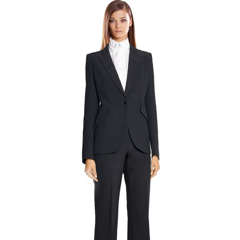 Custom Black Trend Bussiness Formal Elegant Women Suit Set Blazers Pants Office Suits Ladies Pants Suits Trouser Suits