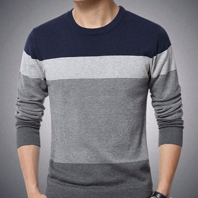 Chic Men Pullovers Color Block O Neck Long Sleeve Slim- Fit Pullover Blouse Knitted Sweater 1