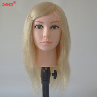 Mannequin Head with human hair blonde white 613# color high grade hairdressing head for bleach paint curl braiding training doll