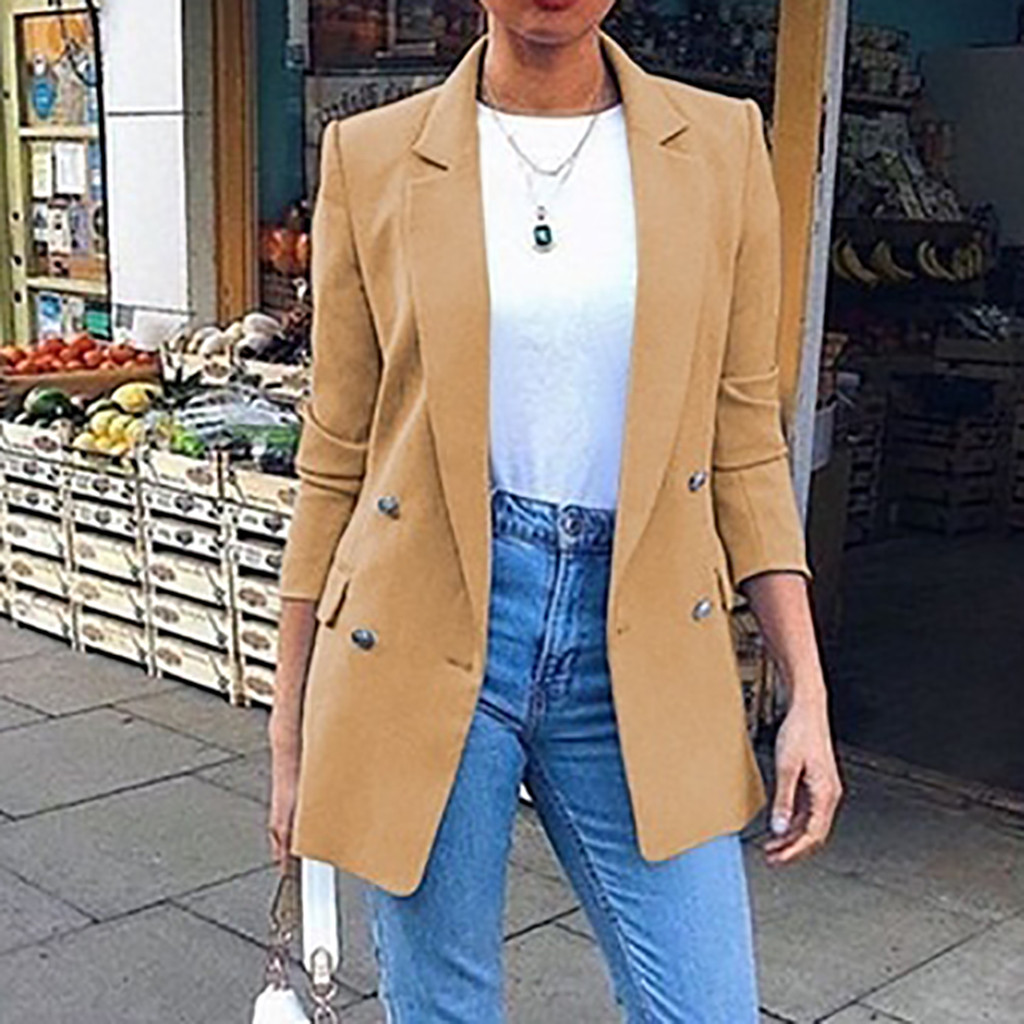 New 2019 Blazer Womens Suit Jackets Long Solid Coats Office Ladies Turn Down Collar Jacket Casual Female Outerwear Suit Blazer