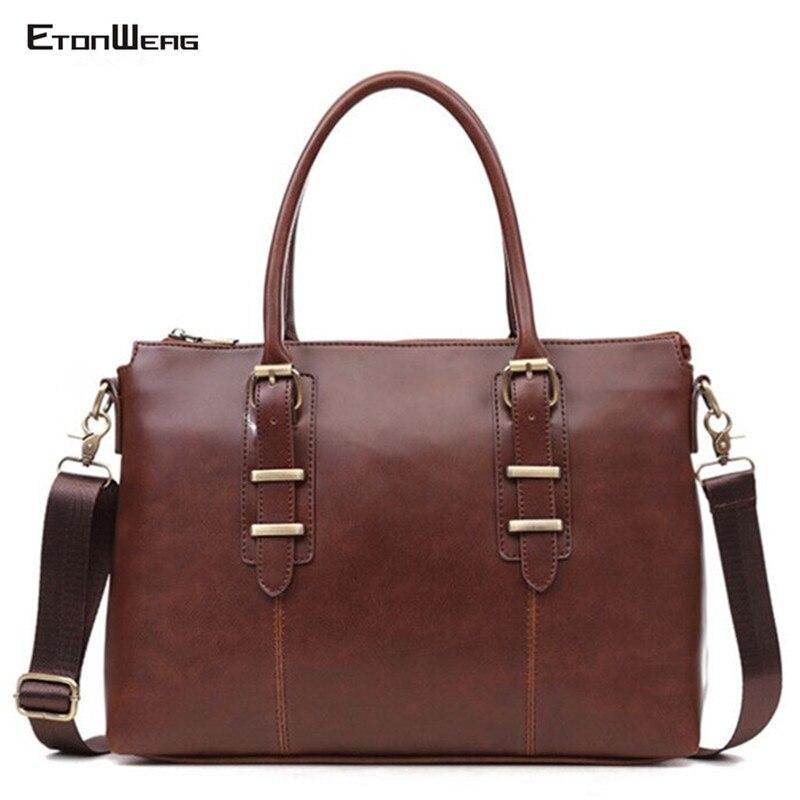 Men's Vintage Briefcase Waterproof PU Leather Handbag Business Office Laptop Bag Large Solid Tote Man Casual Messenger Bag Retro