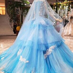 Image 2 - HTL842 robes de mariée musulmanes bleues avec voile de mariée col rond à manches longues robe de mariée verte robe de couleur dentelle robe de noiva azul