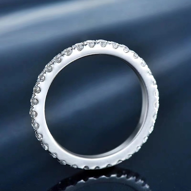 14k White Gold Eternity ring DF Color Moissanite ring Lab Diamond Engagement Matching Band Ring for Women