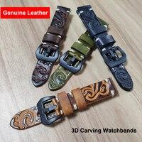 3D Gravieren Blumen Echtes Leder Uhr Band 22 mm für Galaxy Getriebe S3 amazfit Huawei GT 2E Ehre GS Pro armband Armband Armband