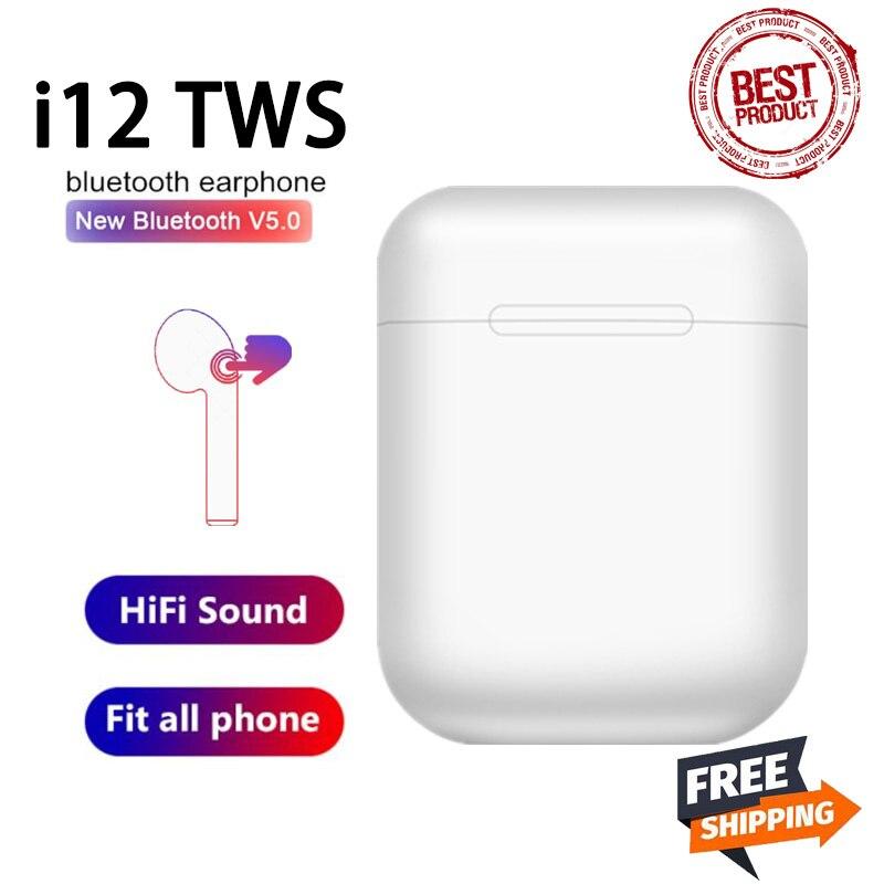 Оригинальные беспроводные Bluetooth-наушники i12 TWS, стереонаушники-вкладыши, Спортивная гарнитура, беспроводные наушники для всех смартфонов