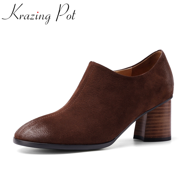 Krazing Pot high quality cow leather retro women pumps round toe mature office lady dress zipper high heels spring shoes L88