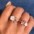 Модные обручальные кольца с цветами и кристаллами для женщин, элегантные кольца из розового золота с искусственным жемчугом, ювелирные изд...