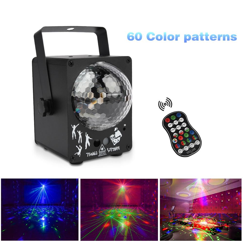60 modèles rvb lampe LED Disco musique activé projecteur Laser effet déclairage de noël pour la fête de mariage DJ lumière de scène