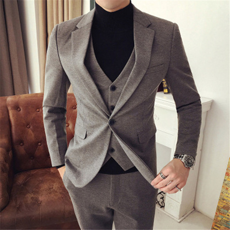 New Men's Suit Smolking Noivo Terno Slim Fit Easculino Evening Suits For Men British Wind Male Groom Jacket+vest+pants
