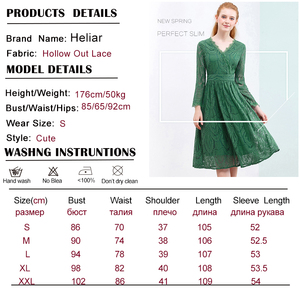 Image 5 - HELIAR Dress 2020 Summer Women Hollow Out One piece Green Leaf Pattern Laced Up Dress Casual Knee Elastic Waist Dress Women