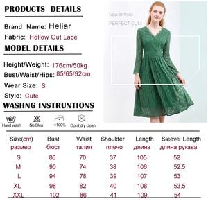 Image 5 - HELIAR Dress 2020 Summer Women Hollow Out 원피스 그린 리프 패턴 레이스 업 캐주얼 무릎 탄성 허리 드레스 여성
