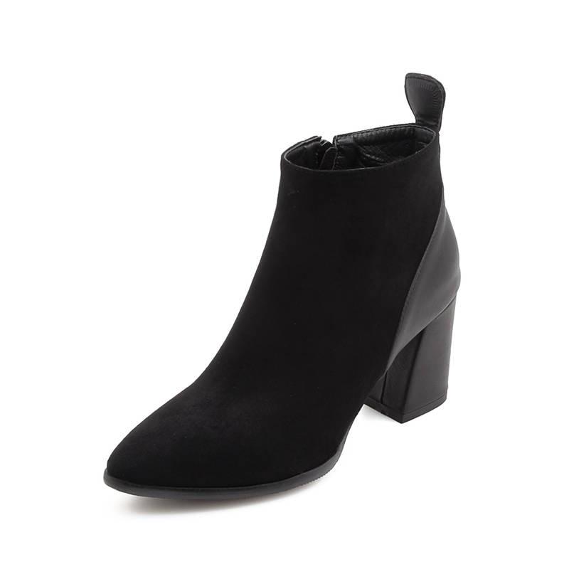 Huapate 2019 mode bottines femmes troupeau court en peluche automne hiver dames bottes talons hauts chaussures femme élégant chaussures de bal