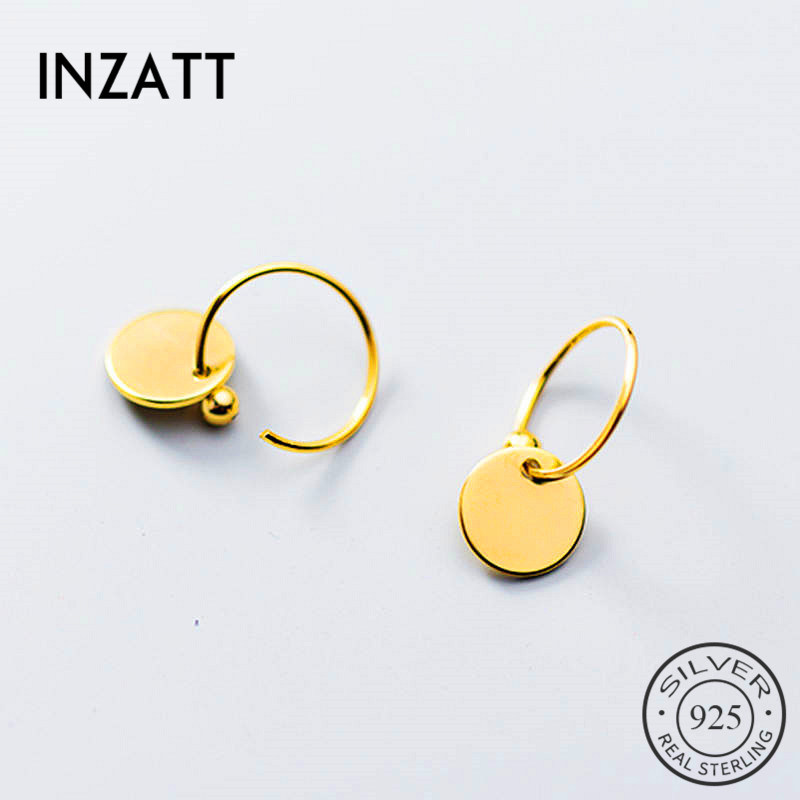 INZATT Real 925 Sterling Silve Minimalist Round Hoop Earrings For Fashion Women Party Fine Jewelry Geometric Accessories Gift